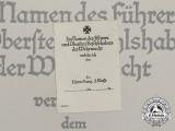 An Unissued Iron Cross 2nd Class Card Stock Award Document
