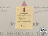 An HJ Honour Badge award Document to Heinz Vogel