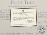 A 1944 Obituary to Fighter Pilot Fritz Todt, KIA