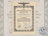 A Posthumous Award Document to Kriegsmarine U-23 Officer