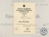 An Iron Cross Second Class Award Document to Regiment General Göring 1941
