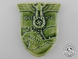 An Unusual Krim Campaign Shield in Green Porcelain