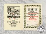 Two Certificates Westerwald-Verein & Kyffhäuserbund Hermann Wirbelauer,