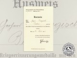 A 1935 Austrian War Commemorative Medal  Award Document