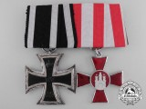 An First War Iron Cross & Hanseaten Medal Pair