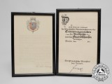 Two Award Certificates for Firefighter Emil Zolland; Berlin