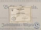 A Kyffhäuser Veterans Association 25 Year Membership Award Document