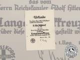 A 1933 Langemarck Cross Award Document