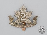 "A First War CEF 30th Infantry Battalion ""British Columbia Battalion"" Cap Badge with ""2"" on the Maple Leaf"