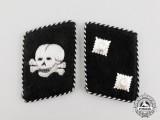 An Early Set of SS-Totenkopfverband Oberscharführer Rank Collar Tabs