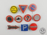 Ten Third Reich Period German Traffic Sign Awareness Badges