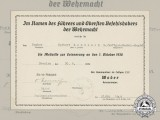 A Sudetenland Medal Award Document to Radio Operator Herbert Rentzsch