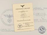 A 1944 Award Document for a Luftwaffe Ground Assault Badge to Gerhard Kunick