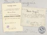 """A First War Iron Cross Award Document to Infantry Regiment 76 """"Hamburg"""""""