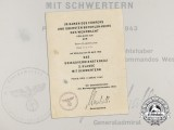 A Kriegsmarine Document for War Merit Cross 2nd Class Signed by PLM Recipient