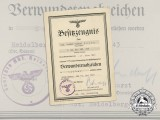 A Silver Grade Wound Badge Award Document to Field-Medic Walter Bauer