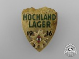 A Fine Quality 1936 HJ Hochland Lager Event Badge by A. Berger