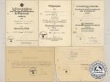 A Set of Panzer Award Documents Signed by von Thoma, Demme, and von Bismarck