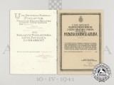 A Set of Second War Croatian Award Documents for Golden Wound Medal & Bravery Medal