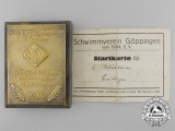 A 1934 Würtemberg Swimming and Diving Championship Award with Document & Box