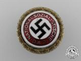 A Large Size NSDAP Golden Party Badge, # 66823