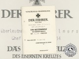 A Knight's Cross of the Iron Cross Award Document Presented to Sr. Lt. Lieutenant Gustav Ellmers