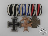 A First War Bavarian Medal Bar with Three Awards