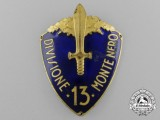 "An Italian 13th Black Mountain Infantry Division (13ª Divisione fanteria ""Monte Nero"") Sleeve Shield 1934-1939"