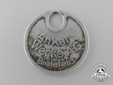 A Second War German Anker-Werke A.G Motorcycle Factory Employee Tag; Numbered