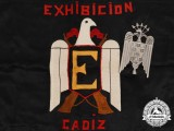 A Rare Spanish Cadiz Exhibition Banner with Falange Union Flagpole Top