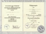 Two Award Documents to SS-Sturmmann Signed by Bittrich; SS Calvary Regiment 1