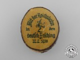 "A 1938 ""With the Reichsbahn to the German Carnival"" Advertisement Badge; Marked"