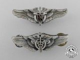Two American Army Air Force Flight Nurse and Flight Surgeon Reduced-Size Shirt Wings