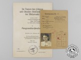 A Duty Pass & War Merit Cross Award Document to Emmy Wölflinger; Switchboard Operator