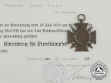 An Award Document & Honour Cross to Joseph Bock