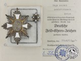 A First War German Field Honour Badge and Stickpin, Boxed with Award Document