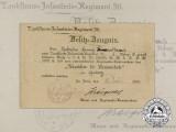 A 1918 Award Document for a Wound Badge; Landsturm Infantry Regiment 36