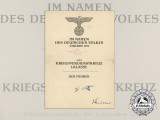 A 1944 War Merit Cross First Class Award Document