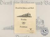 A German Reichsbahn Service for Führer and Volk Award Document