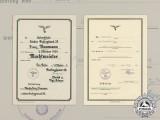 Two promotion certificates to Flak Oberwachtmeister Franz Baumann