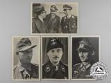 A Lot of 4 Period Knight's Cross Recipient Postcards: Bredemeyer, Kutscher, Strachwitz, Udet/Galland/Mölders