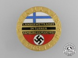 A Mint 1937 Finland/Germany Gymnastics Competition Badge by Carl Wild