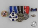 An Austrian NSDAP Golden Party Badge Medal Bar Grouping to SA-Mann August Mathofer