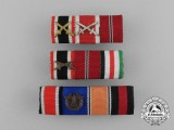 A Grouping of Three First and Second War German Medal Ribbon Bars