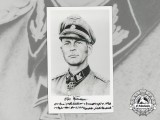 A Signed Drawing of Oak Leaves and Swords recipient SS-Brigadeführer Otto Kumm