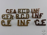 Eight First War Canadian Collar Badges
