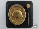 A Gold Grade Wound Badge with Stickpin in LDO Case