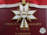 A Croatian Order of King Zvonimir's Crown; 1st Class with Swords in Case