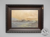 A Fine Period Oil Painting of a Imperial German U-Boat at Sea