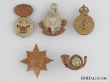 Five First & Second World War British Cap Badges